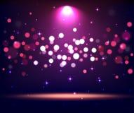 Podium lumineux de scène d'étape de support avec des lumières de tache sur la violette Photos stock