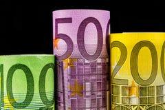 Podium made of big euro banknotes Royalty Free Stock Photos