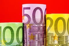 Podium made of big euro banknotes Stock Image