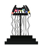 Podium with many microphones isolated icon design Stock Image