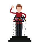 Podium with many microphones isolated icon design Stock Images