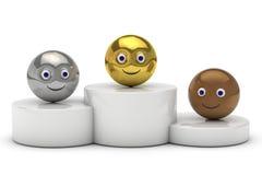 Podium med smileysymbol för boll 3d Arkivfoton
