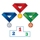 Podium and Medals. Sport game competition winner victory Stock Images