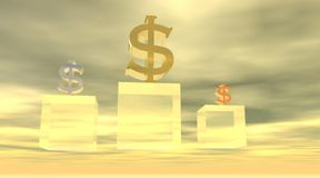 Podium met dollars Royalty-vrije Stock Afbeeldingen