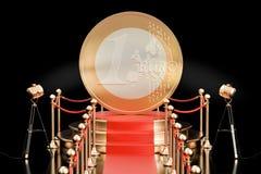 Podium met Euro 3D muntstuk, Stock Afbeeldingen