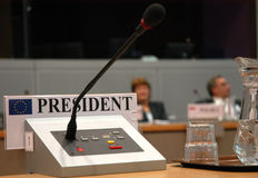 Podium microphone. Presidential podium microphone for business meeting or professional talk royalty free stock photo
