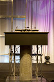 Podium with Microphone Stock Images