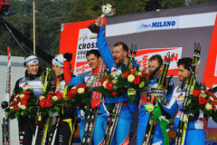 The podium in Milan team sprint Race Stock Image