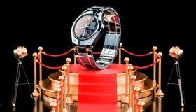 Podium mit analog-digitaler Armbanduhr für Männer, Wiedergabe 3D stock abbildung