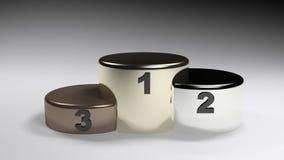Podium mit drei Positionen - Wiedergabe 3D Stockbilder