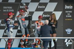 Podium of MotoGP Gran Prix oj Jerez (Spain) Stock Photos