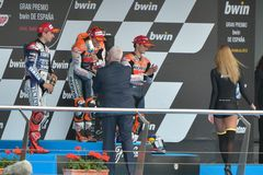 Podium of MotoGP Gran Prix oj Jerez (Spain) Royalty Free Stock Images