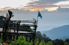 Podium for natural view on viewpoint Doi Ang Khang mountains Stock Photo