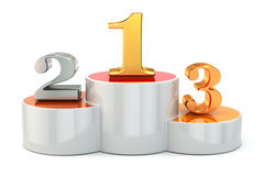 Podium with numbers of places on white isolated background. Royalty Free Stock Image
