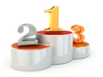 Podium with numbers of places. On white isolated background. 3d Stock Photos
