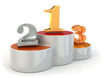 Podium with numbers of places on white isolated background. 3d Stock Photography