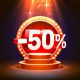 Podium 50 off. With share discount percentage. Vector illustration royalty free illustration