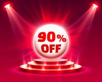 Podium 90 off. With share discount percentage. Vector illustration stock illustration