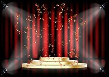 Free Podium On Background Of The Red Curtain. Empty Pedestal For Award Ceremony. Platform Illuminated By Spotlights. Stock Photo - 152842090