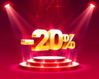 Podium with percentage. Podium action with share discount percentage 20. Vector illustration vector illustration