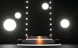 Podium, pi?destal ou plate-forme rond d'or, illumin?s par les projecteurs men?s Illustration Lightpodium lumineux advertising illustration libre de droits