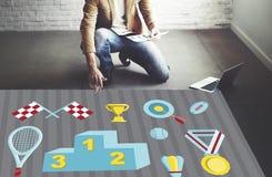 Podium-Prize Belohnungs-Preis-Meister Victory Concept Lizenzfreie Stockfotografie