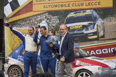 Podium rally of salento terrini bianchetti maglie Stock Images