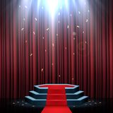 Podium with red carpet and curtain illuminated by spotlights. Illustration of Podium with red carpet and curtain illuminated by spotlights Stock Photos