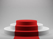 Podium with red carpet Royalty Free Stock Image