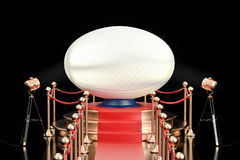 Podium with rugby ball, 3D rendering Royalty Free Stock Photos
