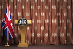 Podium speaker tribune with flags of Great Britain and UK coat o. F arms. Briefing or press conference of prime minister or queen of UK Great Britain. 3d vector illustration