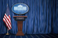 Free Podium Speaker Tribune With USA Flags And Sign Of White House Wi Royalty Free Stock Photography - 124609097