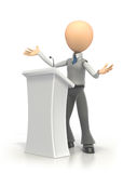 Podium Speech. Businessman giving a speech from podium on a white background. Clipping path included Royalty Free Stock Photo