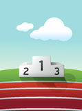 Podium sport on grass and track running.  Royalty Free Stock Photo