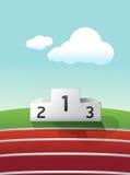 Podium sport on grass and track running royalty free illustration