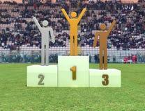 Podium in the stadium. Three human figure on podium in the stadium - digital artwork Stock Image