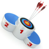 Podium with target  and arrows on first place. 3d Stock Photography