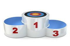 Podium with target on first place. 3d Stock Image