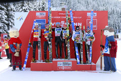 The podium of the team sprint Stock Images