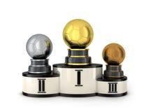 Podium and three award football Stock Images