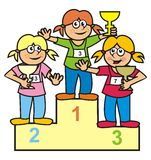 Podium. Three girls on the podium. Amusing illustration Royalty Free Stock Photo