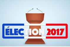 Podium Tribune with French Election Symbol. Design template and element. for greeting and invitation. France Election 2017. Vector Illustration Royalty Free Stock Photography