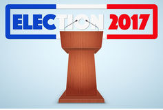 Podium Tribune with French Election Symbol. Podium Tribune with French Election 2017 Symbol. Design template and element. for greeting and invitation Royalty Free Stock Photography