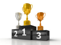 Podium with trophies. A podium with trophies on it, isolated on a white background Stock Photos