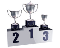 Podium trophies. Illustration of highly polished trophies on a podium showing first, second and third places Stock Images