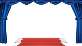 Podium Under Blue Theater Curtain Vector. Ceremony Award. Presentation. Pedestal For Winners. Isolated Illustration. Podium Under Blue Theater Curtain Vector vector illustration