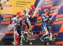 Podium van Grand Prix MotoGP van Catalonië Stock Afbeelding