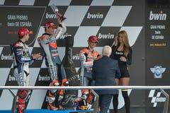 Podium van PB Jerez van MotoGP Gran Prix (Spanje) Stock Foto's