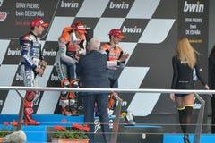 Podium von MotoGP Gran Prix oj Jerez (Spanien) lizenzfreie stockbilder