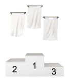 Podium, winners, with blank flags, clipping path. Included, 3d illustration, isolated on white Royalty Free Stock Image